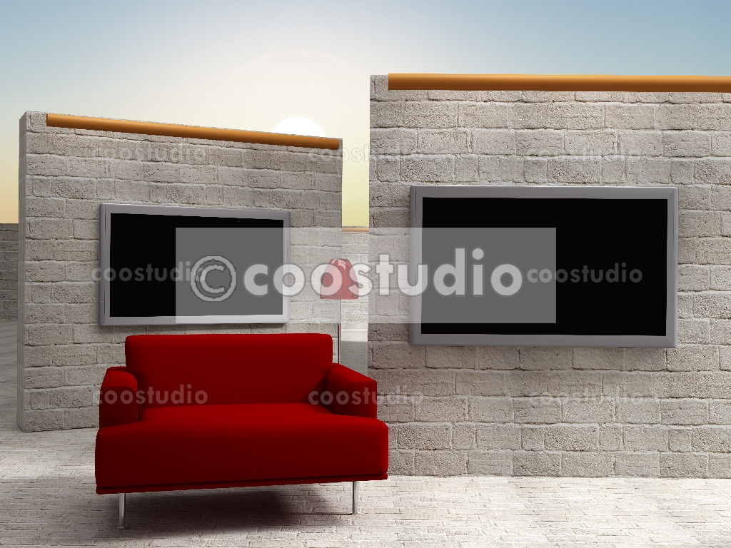 Virtual Set Background Zoom Wall Screen With Red Sofa