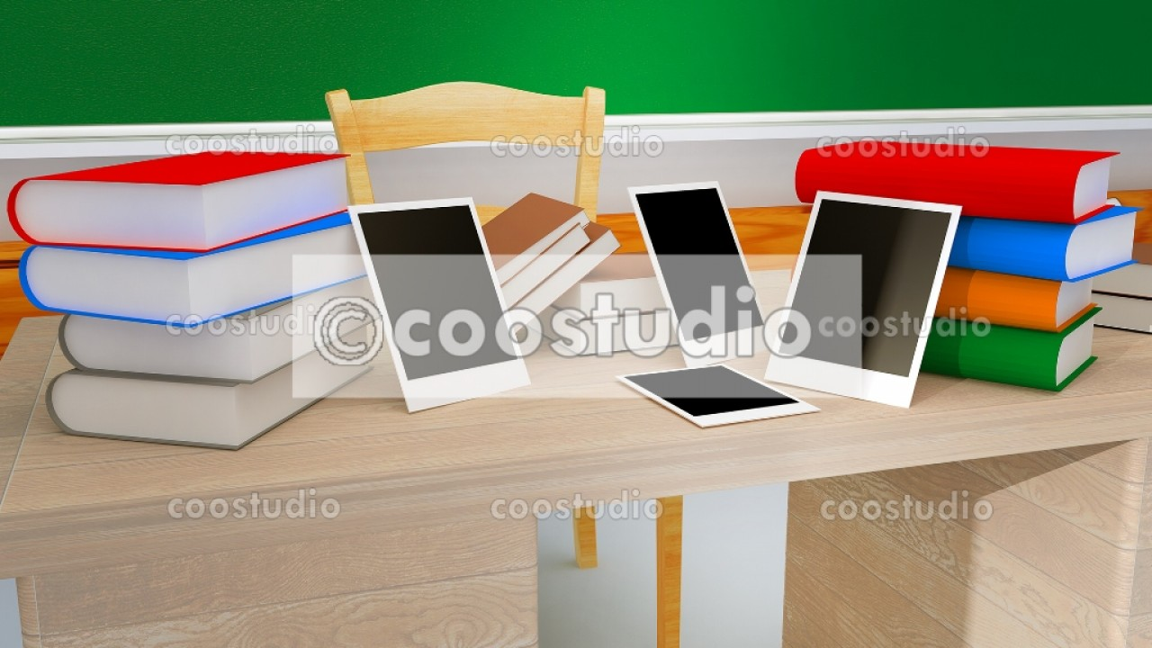 3D Rendering classroom taple with books 20virtual set