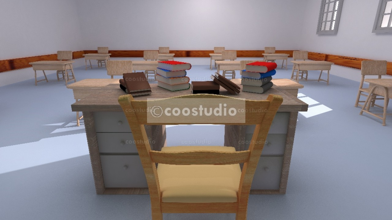 3D rendering of a school office classroom 17virtual set