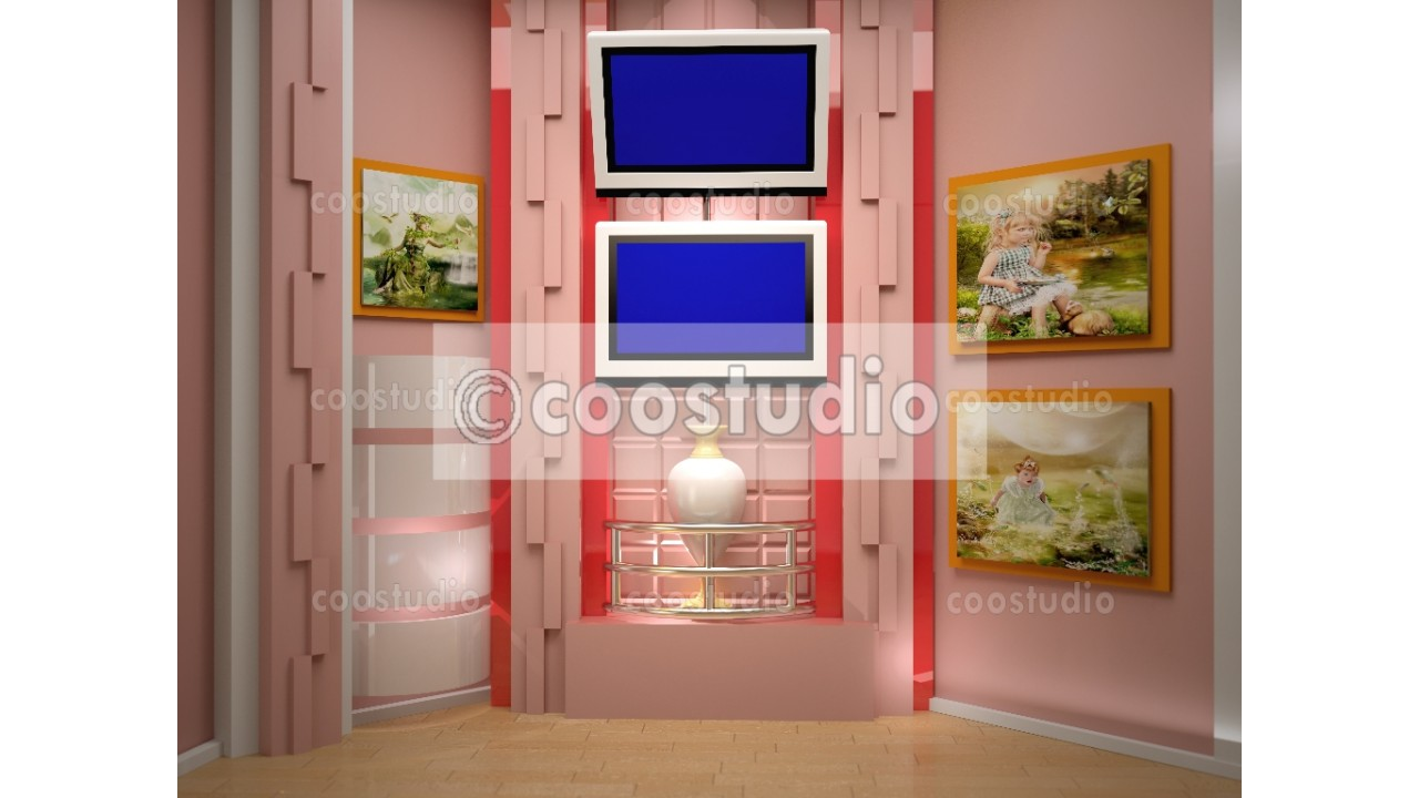 small room studio tv with two blue  screen  background 5virtual set